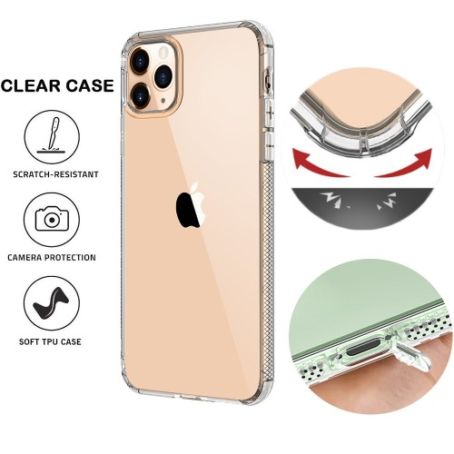 Clear Transparent Shockproof Protective Phone Case with Dustproof Plug and Four Shockproof Guard for iPhone