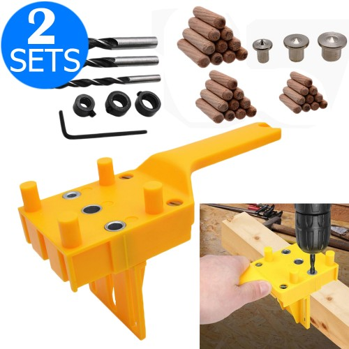 2 X 41PCS DIY Woodworking Doweling Hole Drill Guide Tool with Drill Bits