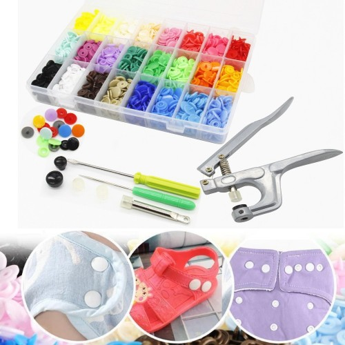 350 Pieces DIY Plastic Snap Button Set with Tools Kit