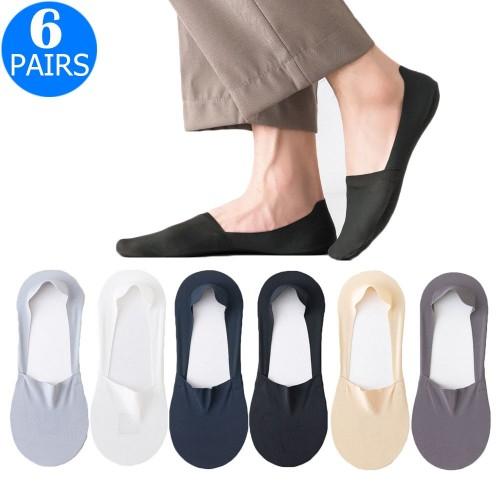6 Pairs of Men Summer Breathable Super Thin Boat Socks