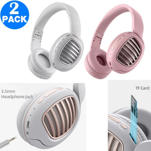 2 X Wireless Bluetooth 5.0 Headset Wired Headphones for Computer Gaming Cell Phone