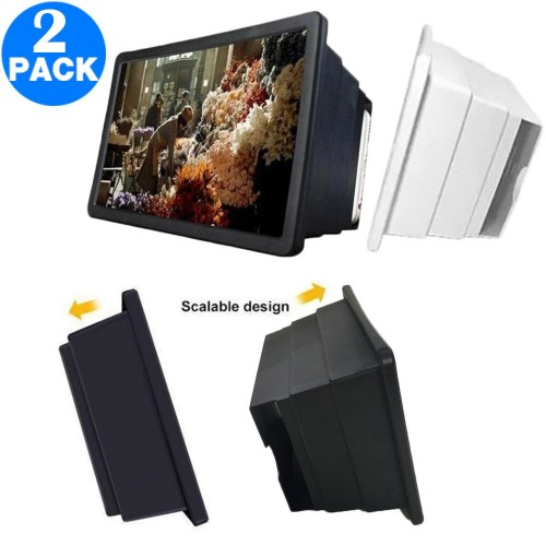 2 X Universal Mobile Phone Screen Magnifier Phone Screen Amplifier Phone Stand Black and White