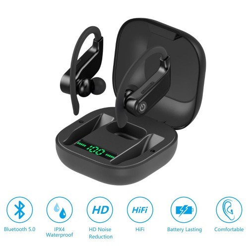 Q62 Bluetooth 5.0 TWS Stereo HiFi Sound Wireless Earbuds Sweatproof Earphone with LED Charging Case
