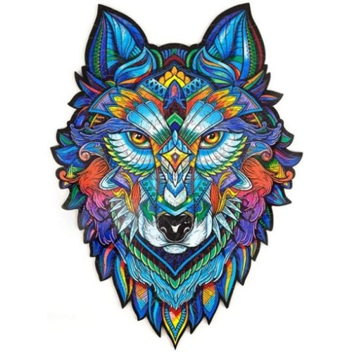 116PCS Animal Series Wolf Pattern Wooden 3D Jigsaw Puzzle Unique Shape Jigsaw Pieces Game Toys