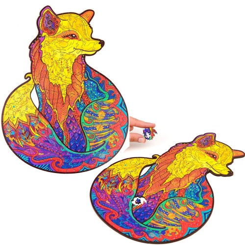 117PCS Animal Series Fox Pattern Wooden 3D Jigsaw Puzzle Unique Shape Jigsaw Pieces Game Toys