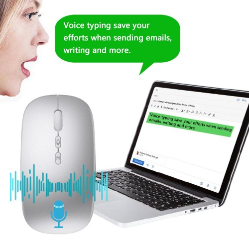 Rechargeable AI Smart Voice Typing Mouse Portable Wireless Translator Mice Voice Mouse Translating up to 28 Languages for Copywriting Laptop Mac OS system Windows system