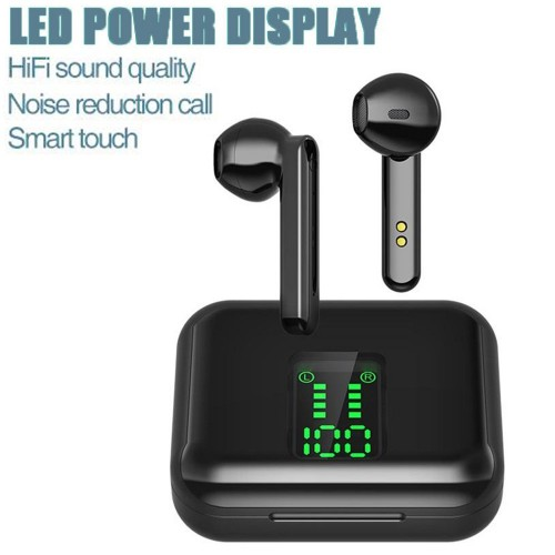X15 Wireless Earbuds Bluetooth 5.0 Headphones Hi-Fi Stereo Touch Control TWS Headset with LED Power Display Charging Case Black