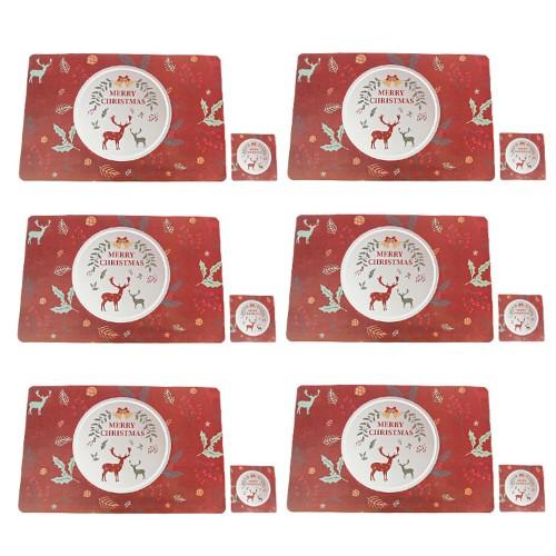 Style 4 Set of 12Pcs Placemats Cup Mug Wine Glass Pads Christmas Table Mats Xmas Decor