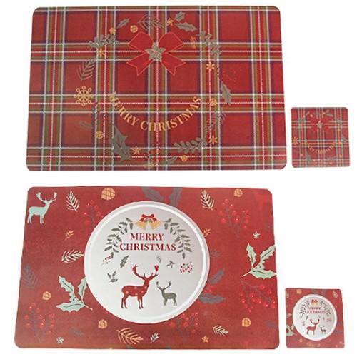 2X Style 2 + 4 Placemats Cup Mug Wine Glass Pads Christmas Table Mats Xmas Decor