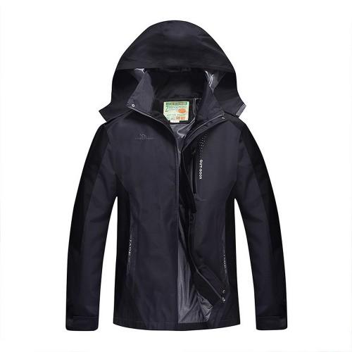 Outdoor Waterproof Winterproof Hooded Jacket for Men Black