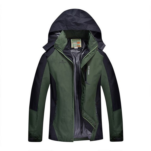 Outdoor Waterproof Winterproof Hooded Jacket for Men Green