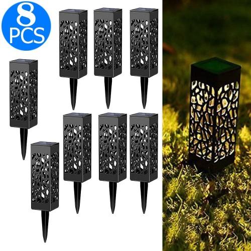 8 Pcs Solar Powered LED Garden Lights Warm White