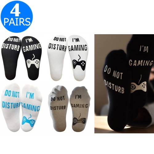 4 Pairs Of Mens Funny Do Not Disturb I'm Gaming Ankle Socks One Size Style 1 Style 2 Style 3 Style 4