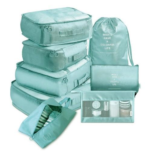8PCS Travel Luggage Packing Cubes Organizers Set Green