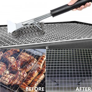 2 X BBQ Grill Cleaning Brush and Scraper Bristle Free Barbecue Cleaner with Triple Head Scrubber for Grill Cooking Grates and Racks Style 1