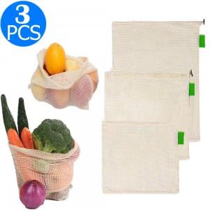 3PCS Reusable Shopping Mesh Bags Set