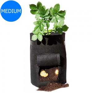 Black Medium Size Reusable Garden Potato Planting Bag Vegetable Harvest Window Growing Planter Bag