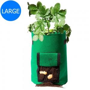 Green Large Size Reusable Garden Potato Planting Bag Vegetable Harvest Window Growing Planter Bag