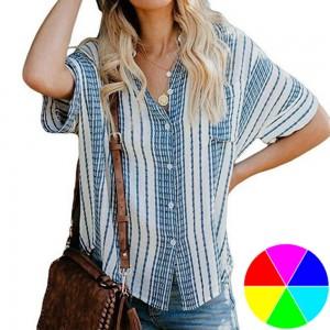 Women Linen Striped Shirt