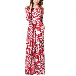 Women Printed Slim Dress Red