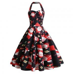 Women Halter Print Dress Style 4