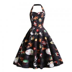 Women Halter Print Dress Style 6