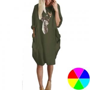 Women Christams Printed Crew Neck Skirt