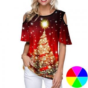 Women Christams Printed Short Sleeve T Shirt