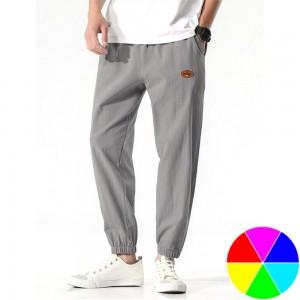 Men Solid Color Loose Casual Pants