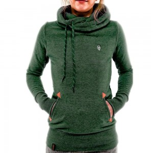 Women Long Sleeve Hoodies Sweatshirt with Pocket Green