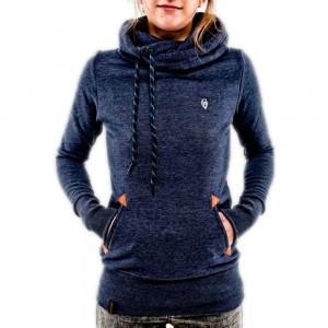 Women Long Sleeve Hoodies Sweatshirt with Pocket Navy Blue