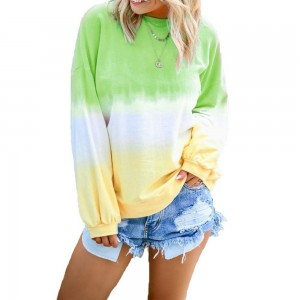 Womens Casual Crewneck Long Sleeve Gradient Contrast Pullover Blouse Tops Loose Sweatshirts Green