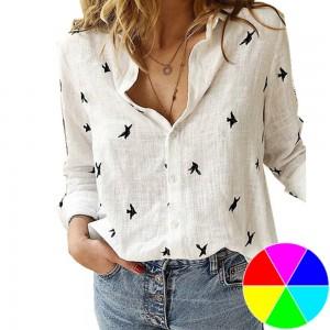 Women Printed Casual Long Sleevee Shirt