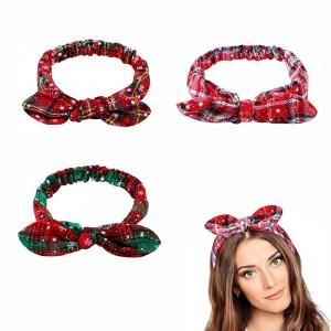 3Pcs Christmas Headband Elastic Bow Knot Hair Bands