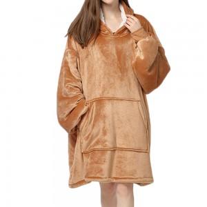Brown Unisex Hoodie Blanket Hooded Oversized Wearable Throw Blanket Adult