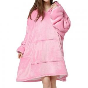 Pink Unisex Hoodie Blanket Hooded Oversized Wearable Throw Blanket