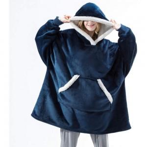 Navy Blue Unisex Hoodie Blanket Hooded Oversized Wearable Throw Blanket