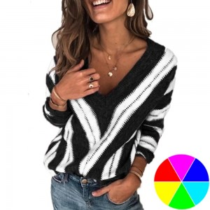 V Neck Stripe Knitted Sweater