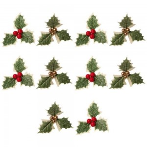 60 Pieces Holly Berry Flower with Leaves