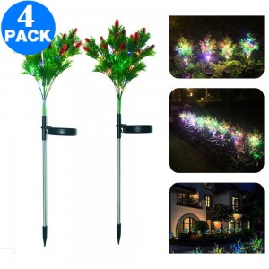 4 X Solar Powered Christmas Pine And Berry 15LED Color Garden Landscape Lawn Lamp