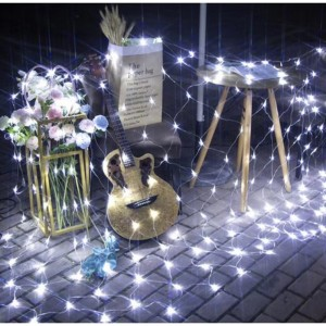 Christmas 3M x 2M 192LED Solar Powered Fairy Net Light White