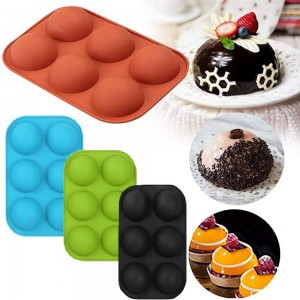 4 Pack Different Colours 6 Holes Semi Sphere Silicone Mold Chocolate Cake Mold Jelly Pudding Mold Handmade Soap Mold Baking Tool