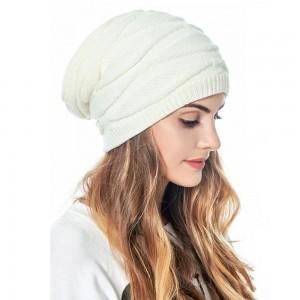 Knitted Hat for Women Men Beanies Hat Winter Warm Hat Soft Stretch Cap Outdoor Warm Hat White