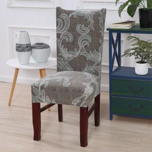 2pcs Stretch Dining Printed Pattern Chair Slipcover Home Decor-Dark grey