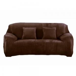 Three Seaters Fleeced Sofa Cover Coffee