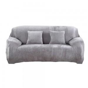 Three Seaters Fleeced Sofa Cover Light Grey