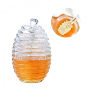 Food Grade Plastic Honey Pot with Dipper and Lid