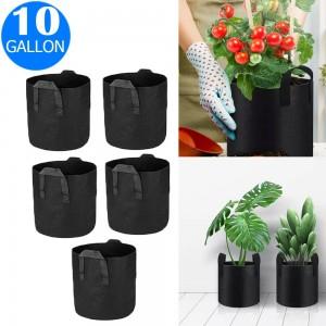 5X 10 Gallon Garden Plant Grow Bags Non-woven Fabric Bag Food Fruit Vegetable Storage Bags
