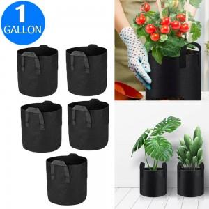 5X 1 Gallon Garden Plant Grow Bags Non-woven Fabric Bag Food Fruit Vegetable Storage Bags