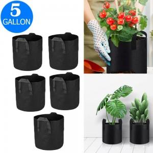 5X 5 Gallon Garden Plant Grow Bags Non-woven Fabric Bag Food Fruit Vegetable Storage Bags
